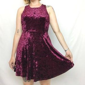 Altar'd State Red Velvet Skater Dress A-Line Large